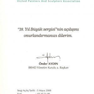 BRHD 38. Yıl Buyuk Sergisi afisi- davetiyesi